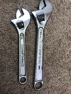 Vintage Craftsman 10in And 8in Adjustable Wrenches, Crescent Wrench