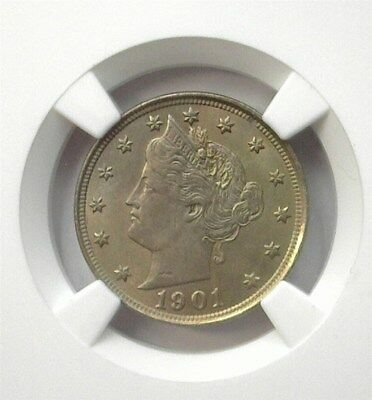 1901 Liberty Head 5 Cents  Ngc Au58 Lists For $70! Looks 61!