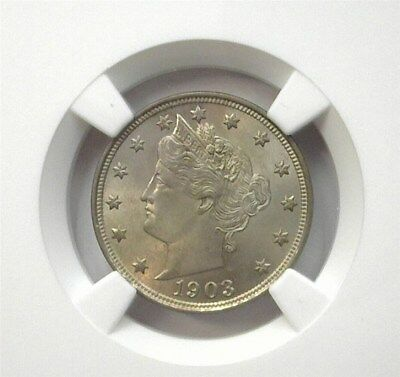 1903 Liberty Head 5 Cents  Ngc Ms62  Lists For $100! Looks 64!