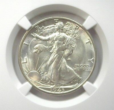 1943-S Walking Liberty Silver 50 Cents Ngc Ms64 Lists At $85! Bright White!