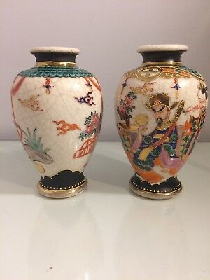 Pair Of Antique Japanese Crackle Glase Handpainted Vase Satsuma. Shimazu
