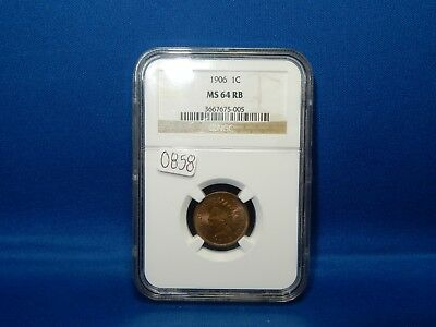 1906 Indian Head Penny - NGC MS 64 RB