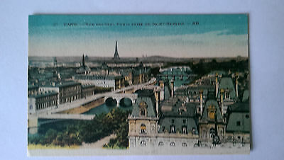 Paris France Vintage colour Postcard  c1920s Vue des Sept Ponts