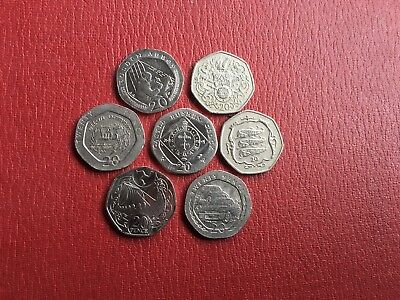 Job Lot Of 7 Old 20 Pence Coins From The Isle Of Man All Different As Per Photos