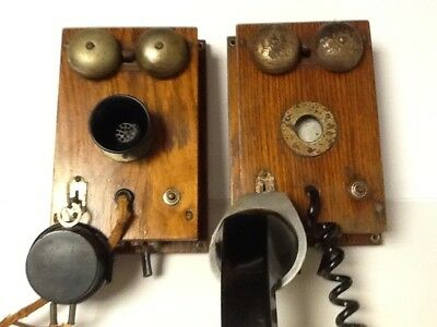 Antique Western Electric Solid Oak Wood Telephone Intercom System WORKS!