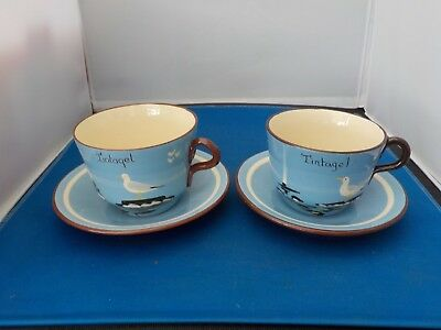 2 RARE Vintage torquay Babbacombe Pottery Cup Saucer TINTAGEL ornament Seagull