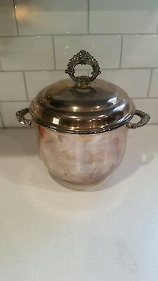 Unbranded Silver Plated Ice Bucket floral handles