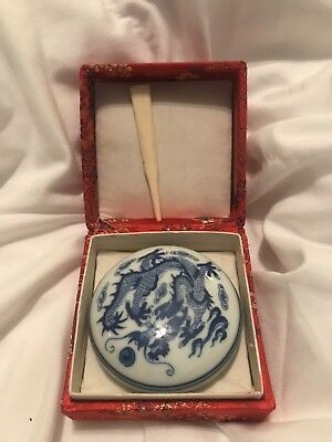 UNUSED  Vintage Chinese (asian) Seal /ink Paste Porcelain Dish With Bone Spatula