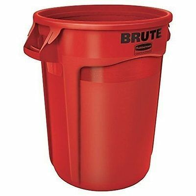 Rubbermaid 2632 Brute 32 Gallon Vented Round Trash Container, Red (RCP2632RED)