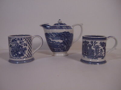 Vintage James Sadler ( the old mill ) teapot with two cups made England