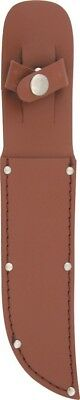 Lightweight Brown Leather Belt Sheath. Fits Straight Fixed Knife Blades Up To 6""