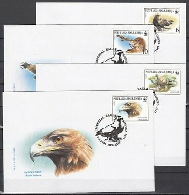 Macedonia, Scott cat. 206 a-d. W.W.F., Imperial Eagle issue. 4 First day covers.