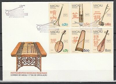 Macao, Scott cat. 524-529. Traditional Music Instruments on a First day cover.