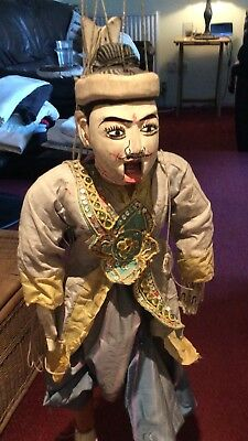 Rare Hand Carved Antique Burmese Myanmar Marionette Puppet72 Cm In Height