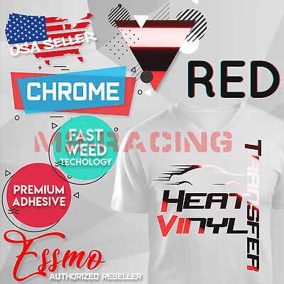 "Red Chrome Heat Transfer Vinyl Roll HTV Roll T-Shirt 20"" Iron On Heat Press DS12"