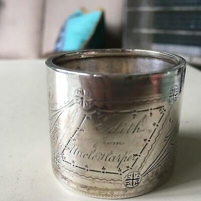 Vintage Antique Silver Napkin Ring With Engraving Interesting And Different