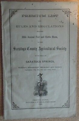 1869 advertising Saratoga Springs N.Y. 28th Annual fair & cattle show booklet