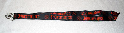 JAGERMEISTER Satin Lanyard ID Badge Holder Key Chain Black Orange Logo NEW