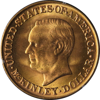 1917 McKinley Commemorative Gold $1 Rattler Holder PCGS MS63 Superb Eye Appeal