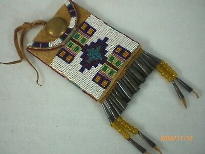 Beaded Native American Belt Bag, Old Style Gros Ventre, Smoked Deer, Indian Made