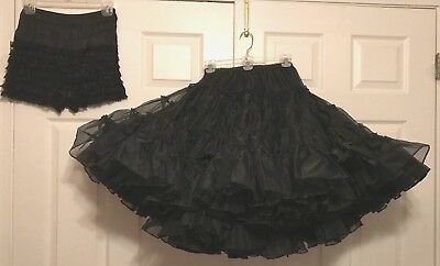 Square Dance Petticoat & Pettipants, Shiny Crystalline Black Noir, Med