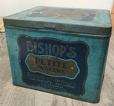 Vintage Lg. Bishop's Petite Wafers Tin Canister Hinged Lid Los Angeles San Diego