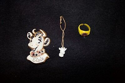 Elsie the Cow Borden Advertising BAKELITE Pin, Charm, and Ring - 3 Piece Set