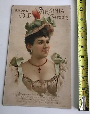 1893 Old Virginia Cheroots large advertising store card