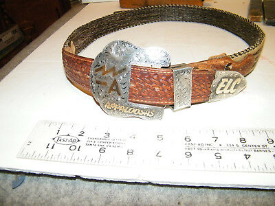 3 pc sterling ranger buckle set on hitched horsehair belt, with brand, by wanda