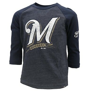 Milwaukee Brewers MLB Majestic Kids Youth Size Distressed Long Sleeve Shirt New