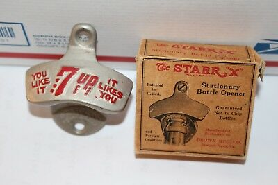 Vintage 1940's 7Up 7 Up Soda Pop Machine Metal Bottle Opener Sign W/Box
