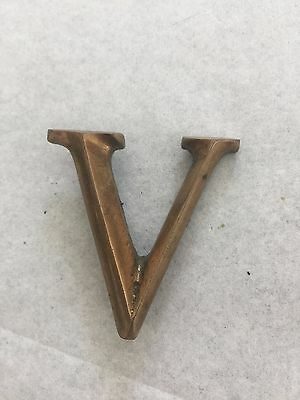 """Vintage brass letter V capital letter used with patina 1 1/2"""" tall solid cast"""