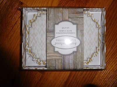 "New  ""kathy Ireland Expressions "" Tan And White Note Cards  In Box  Set Of 20"