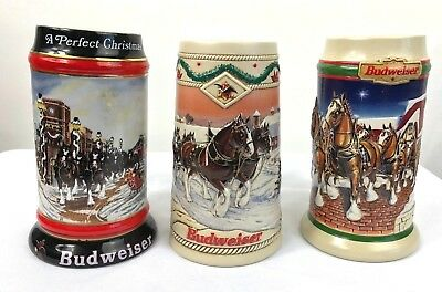 Budweiser Holiday Beer Steins Lot of 3 1992 1996 1998 Collector Steins