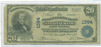 1902 Large Size National Currency $20 American Exchange Pacific N.b. New York