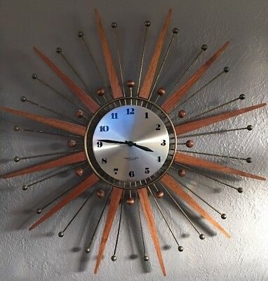 Wesclox Nocord Teak Metal Mid Century Wall Clock Made in USA Battery Works! 1972