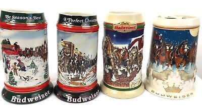Budweiser Holiday Beer Steins Lot of 4 Collector Christmas  1991 1992 1998 2005