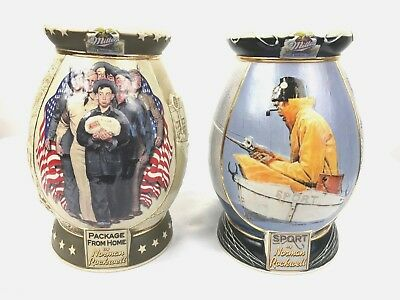 Miller Beer Steins Lot of 2 Norman Rockwell Package From Home and Sport
