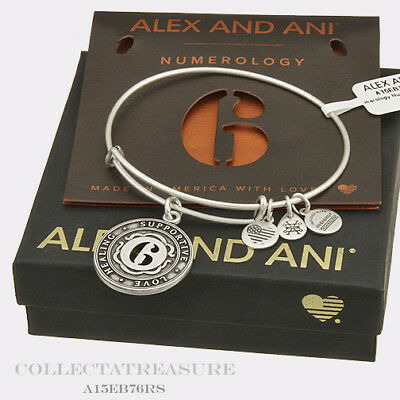 Authentic Alex and Ani Numerology Number 6 Rafaelian Silver Charm Bangle