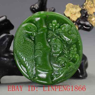 Chinese Natural Green Hetian Jasper Jade Hand Carved Parrot & Flower Pendant