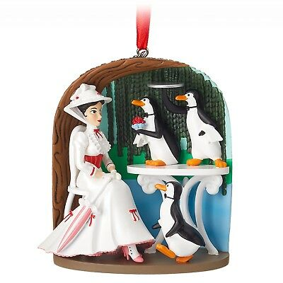 NIB 2018 Disney Store Mary Poppins Jolly Holiday Sketchbook Ornament Penguins