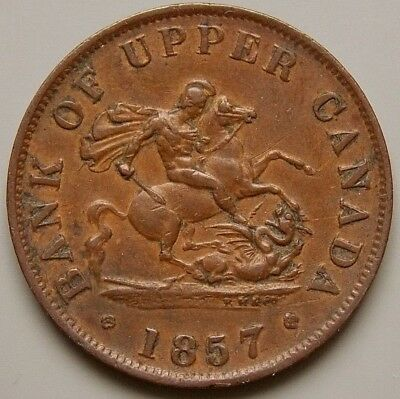 1857 PC-5D  Province Of Canada Canadian Bank Of Upper Canada 1/2 Penny Token