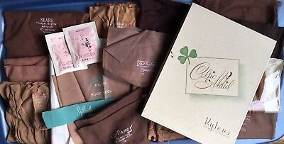 Vtg NOS lot Nylon Silk Stockings 17 pairs Mixed Sizes Colors Brands Designers