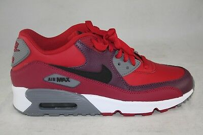 a2cf216d04 YOUTH SIZE NIKE Air Max 90 Leather (Gs) 833412-601 Gym Red/Black ...