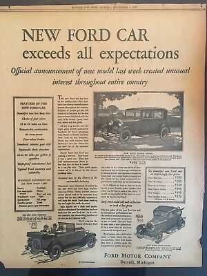 Newspaper Ad Introducing the New Model A Ford - Kansas City Post December 5,1927