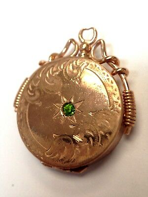 Antique Victorian Rose Gold Filled Locket Pendant with Bright Green Paste