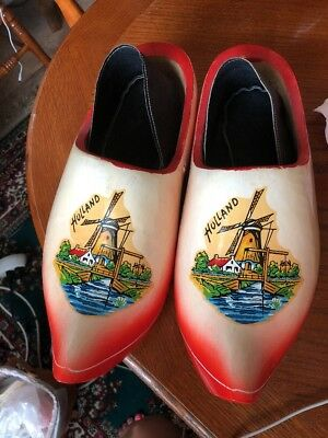 Holland Size 29 Dutch Wooden Painted & Carved Solid Hand Painted Shoes / Clogs