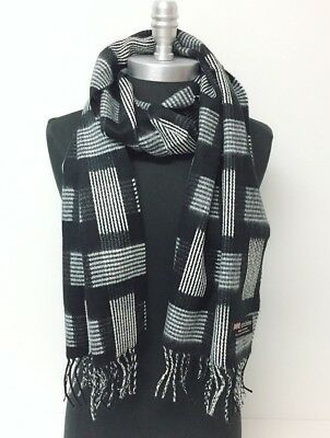 NEW Men Women 100%CASHMERE SCARF Scotland Soft Wool Wrap Plaid Black/White