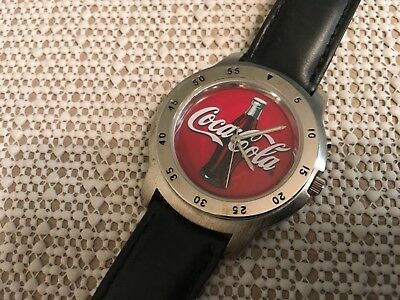 Coca-Cola Quartz Wrist Watch With Light New Battery Leather Band Never Worn