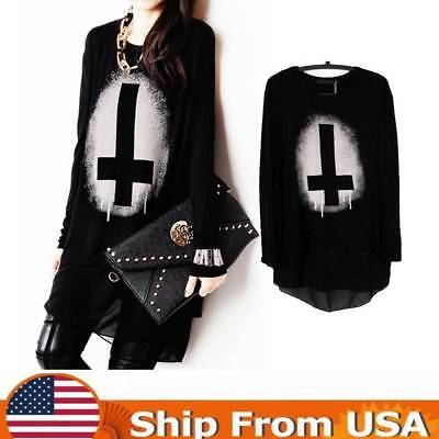 Women Gothic Punk Pullover Long Sleeve Cross Print Loose Tops Shirt Blouse Black